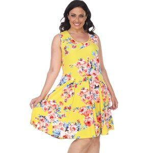 Plus Size Floral Print Dress fitted Midi ps826-184